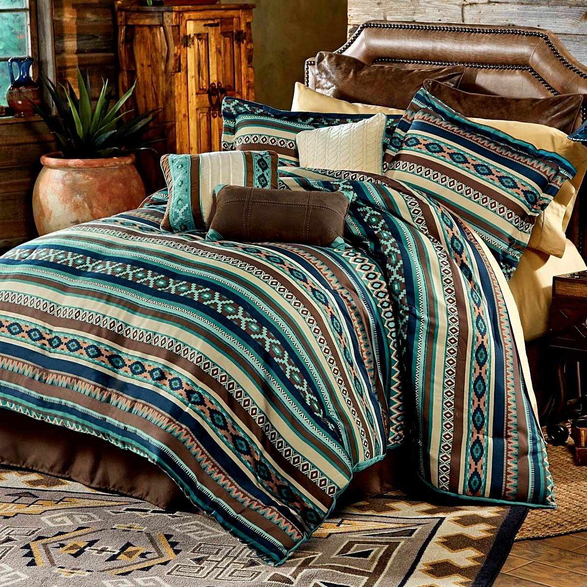 Southwest Turquoise Native American Queen Comforter, 2 Shams, 3 Decorative Pillows, 1 Bedskirt + Home Style Sleep Mask Southwestern Lodge Cabin