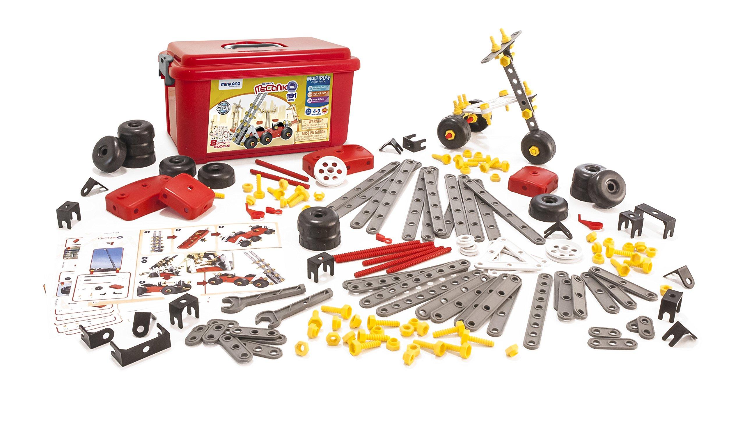 Miniland Activity Mecaniko Builder Set, 191 Pieces, Red/Yellow/Charcoal