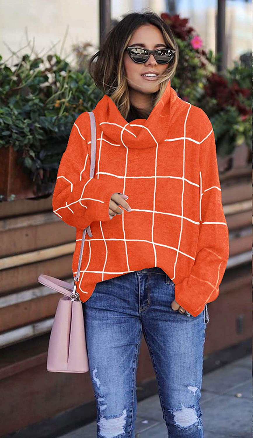 ECOWISH Women Pullover Sweater Turtleneck Plaid Long Sleeve Loose Casual Chunky Checked Knitted Winter Sweaters Jumper Tops