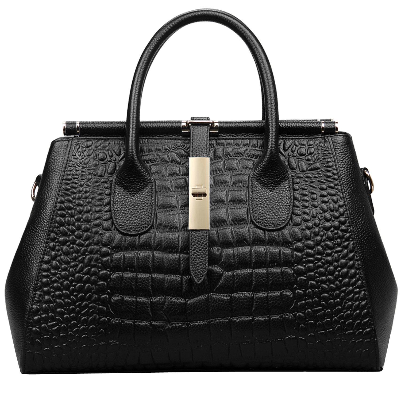 Jack&Chris Ladies Top Handle Tote Bag for Women Crocodile Embossed Purses and Handbags on Clearance, WBDZ024 (SP-Black)