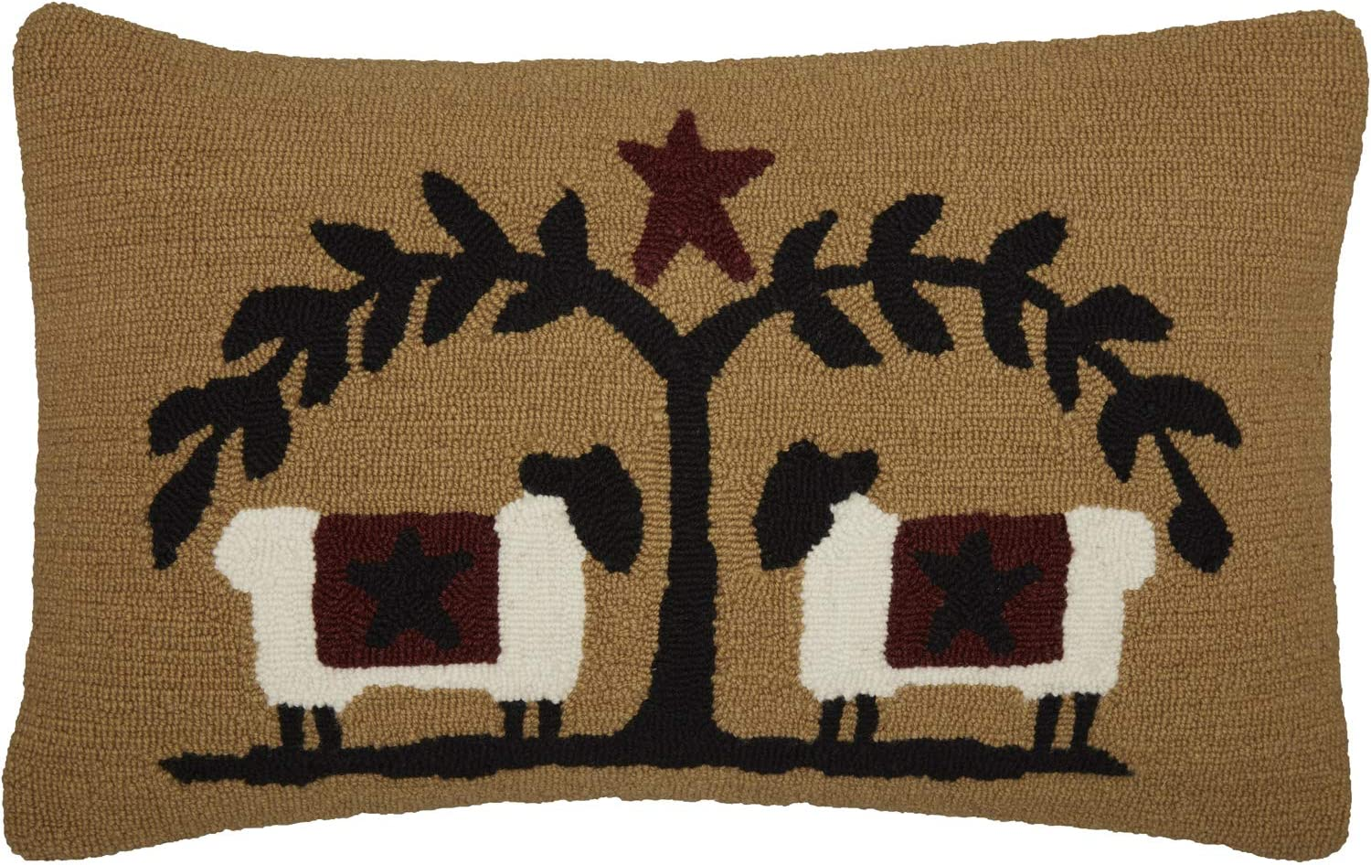 VHC Brands Heritage Farms Sheep and Star Hooked Graphic/Print Textured Wool Primitive Bedding Hand Sewn 22x14 Filled Pillow, Mustard Tan