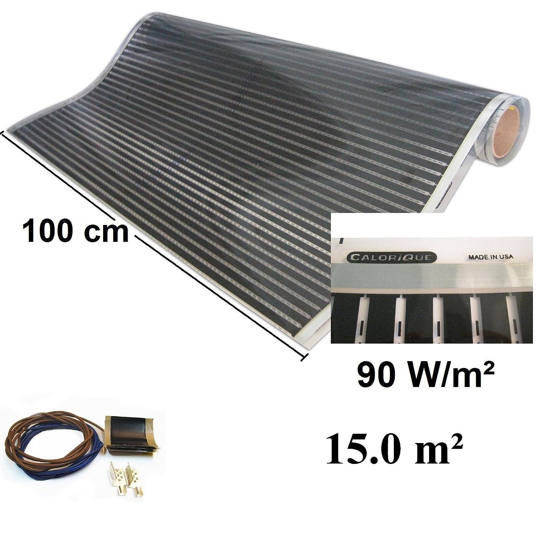 Calorique Infrarot Heizfolie Elektrische Fu/ßbodenheizung 100 cm Set 90 W//m/² 15,0 m/² effiziente und kosteng/ünstige Heizung f/ür Neubau oder Altbau-Sanierung