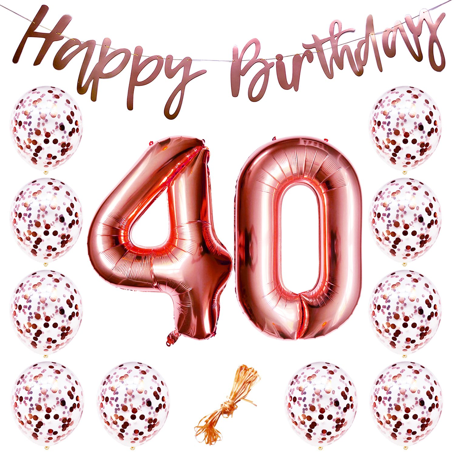 Amazon 40th Birthday Party Decorations Rose Gold Decor Strung Banner Happy 12PC Helium Balloons W Ribbon Huge Numbers 40 Confetti Kit