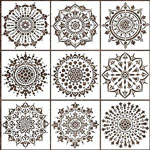 LOCOLO Mandala Stencils Set of 9 (6 x 6 inch) Reusable Stencil Laser Cut Painting Template Wood Floors Wall Fabric Furniture Stencils