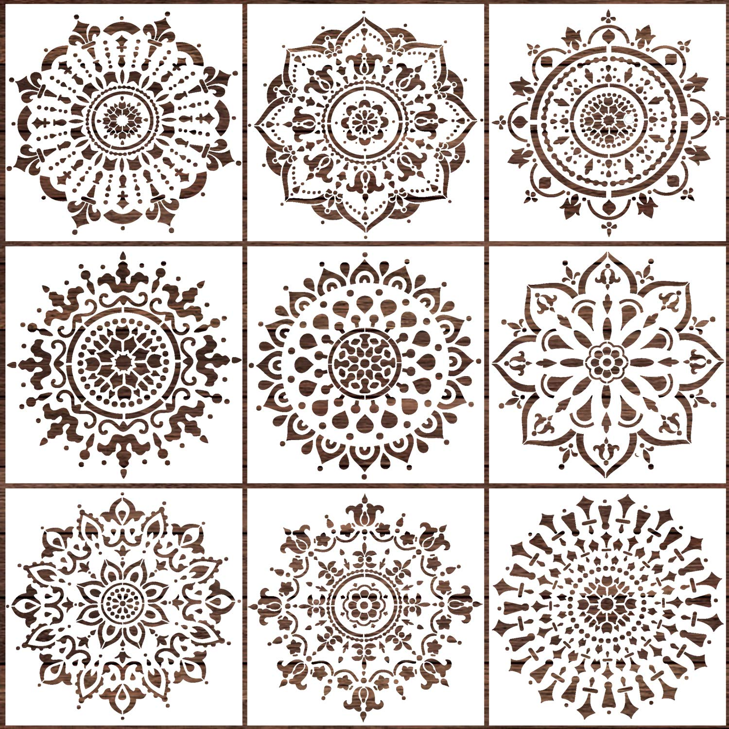 LOCOLO Mandala Stencils Set of 9 (6 x 6 inch) Reusable Stencil Laser Cut Painting Template Wood Floors Wall Fabric Furniture Stencils by LOCOLO
