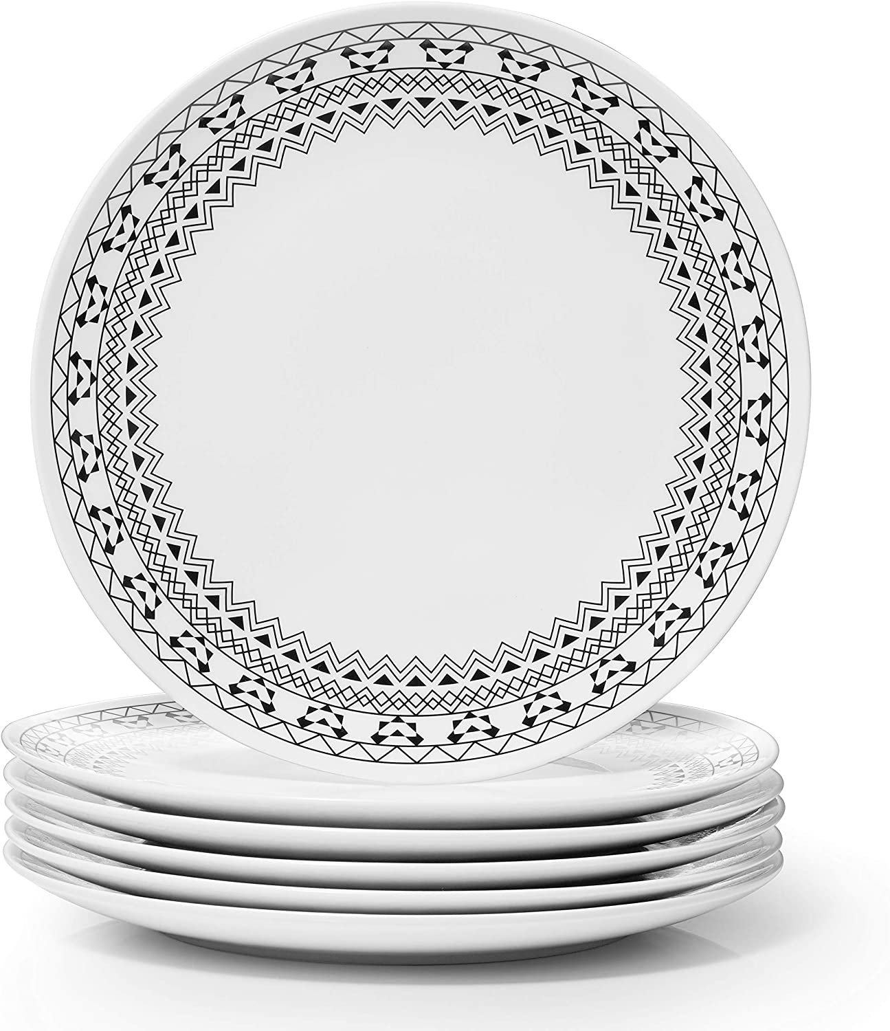 Dowan Serving Plates, 10 Inch Salad Dinner Plates, Ceramic Serving Platters for Appetizer Dessert Pancake Side Dish, Dishwasher Safe, Christmas Party Restaurant Use, Bohemian Style Gift, Set of 6