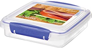 Sistema KLIP IT Collection Sandwich Box Food Storage Container, 15.2 oz./0.4 L, Clear/Blue