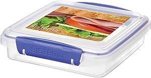 Sistema KLIP IT Collection Sandwich Box Food Storage Container, 15.2 oz./0.4 L, Clear/Blue