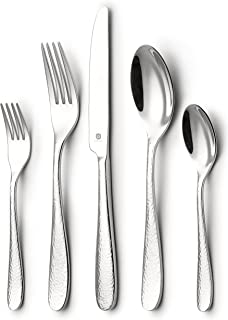DANIALLI 20 Piece Flatware Set For 4, Modern Hammered Design Silverware Set,  18