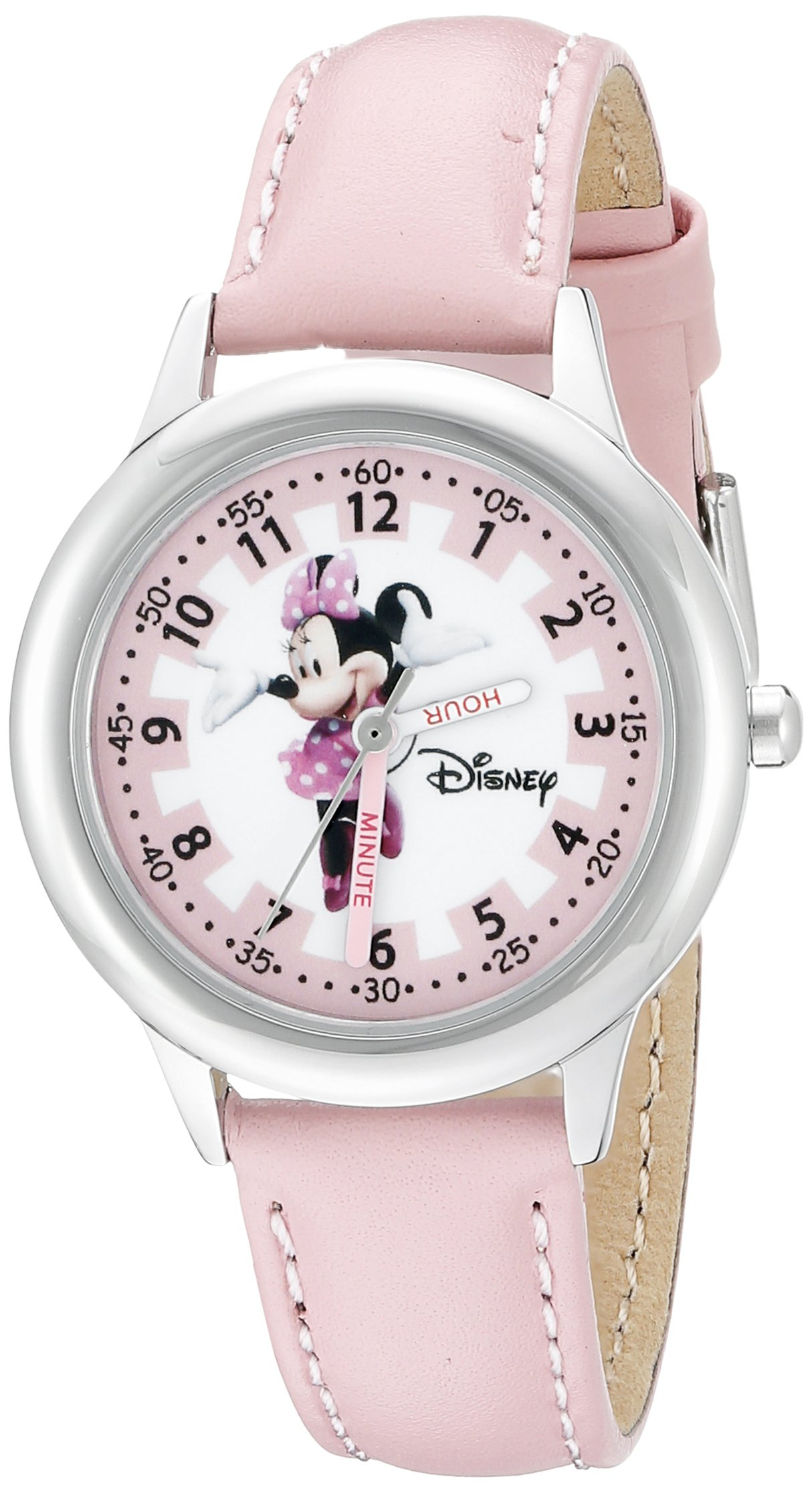 Disney Kids' W000038 Minnie Mouse Time Teacher Stainless Steel Watch with Pink Leather Band by Disney