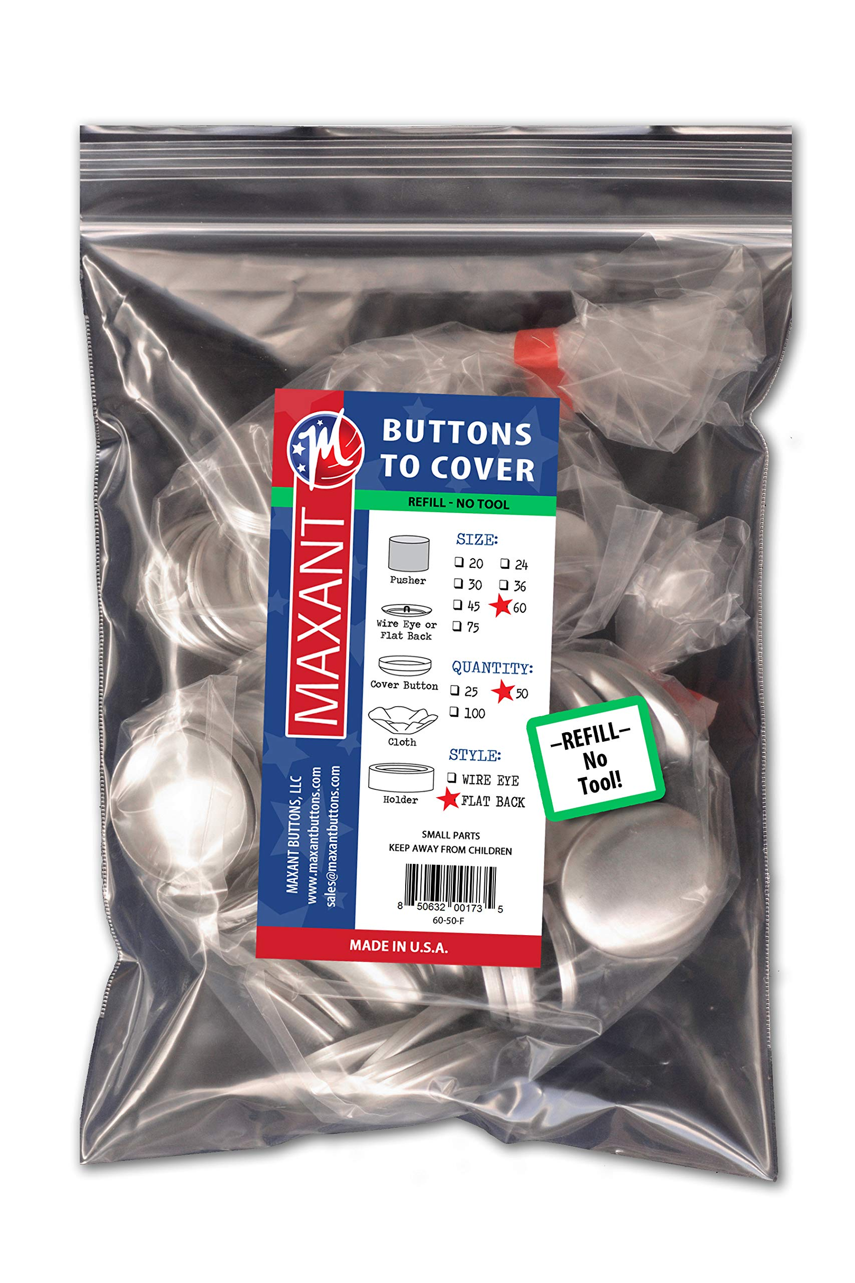 50 Buttons to Cover - Made in USA - Cover Buttons With Flat Backs Size 60 (1 1/2'') by M MAXANT