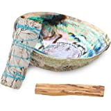 Origins Smudging Kit - White Sage Smudge Stick + Palo Santo + Abalone Shell Bowl | Sustainably Sourced Healing Incense for Ho