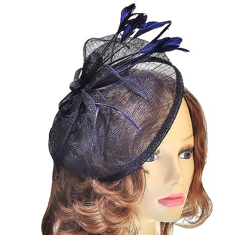 magasins d'usine en ligne ici beau Femmes Grande taille Bleu marine Chapeau style Bibi sur ...