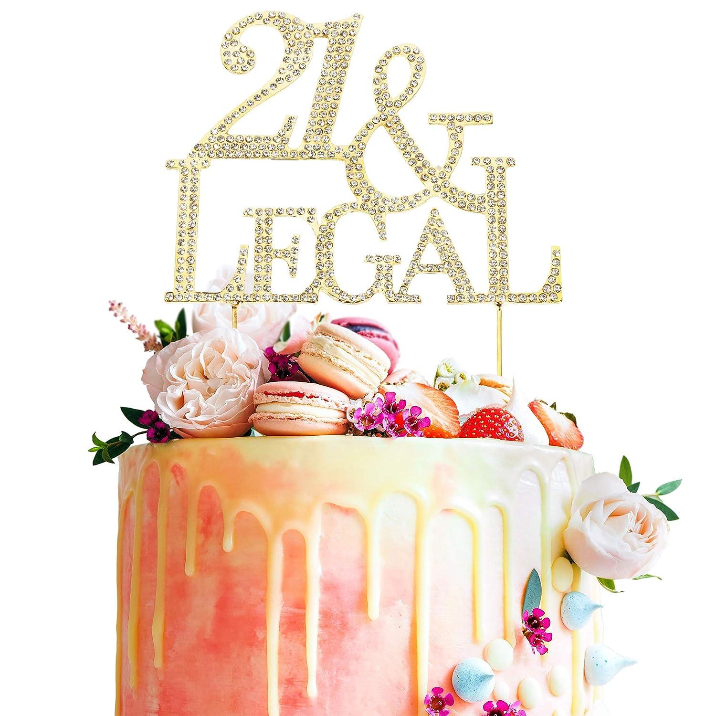 Amazon 21st Birthday Crystal Rhinestone Gold Cake Topper Finally Legal Best Keepsake Twenty One Years Old Party Decoration Supplies