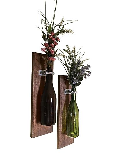 Amazon Com Meraki Designs Wine Bottle Wall Vases Set Of 2 Rustic
