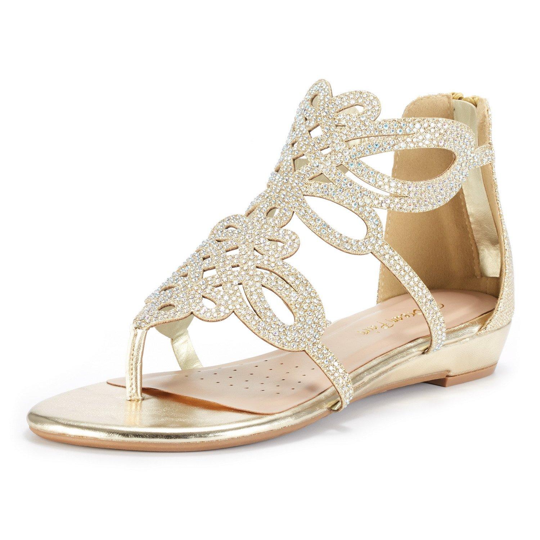 DREAM PAIRS Women's Jewel_02 Gold Rhinestones Design Ankle High Flat Sandals Size 8 M US