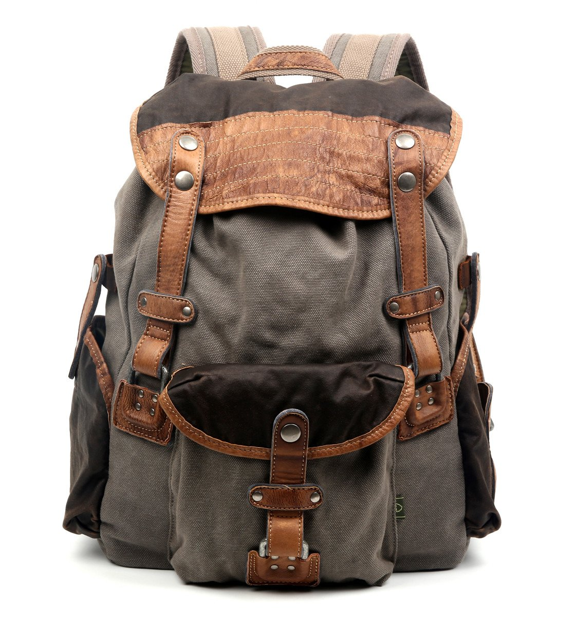 5d6bc4a71f76 Amazon.com  The Same Direction Tapa Two Tone Canvas Backpack Leather and Canvas  Bag (Grey)  More Lane Inc.