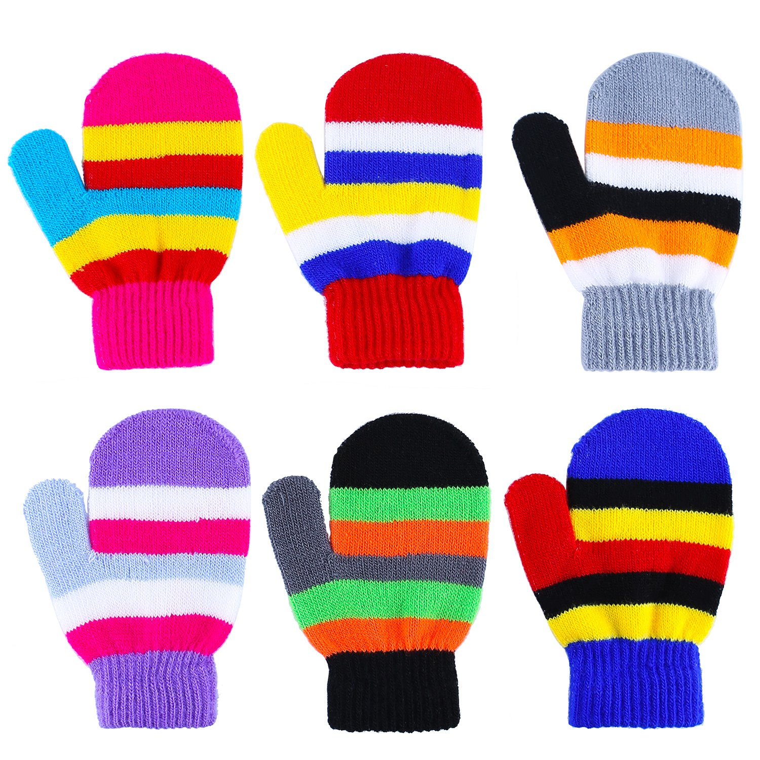 Aneco 6 Pairs Toddler Magic Gloves Warm Winter Stretch Mittens Baby Knitted Gloves