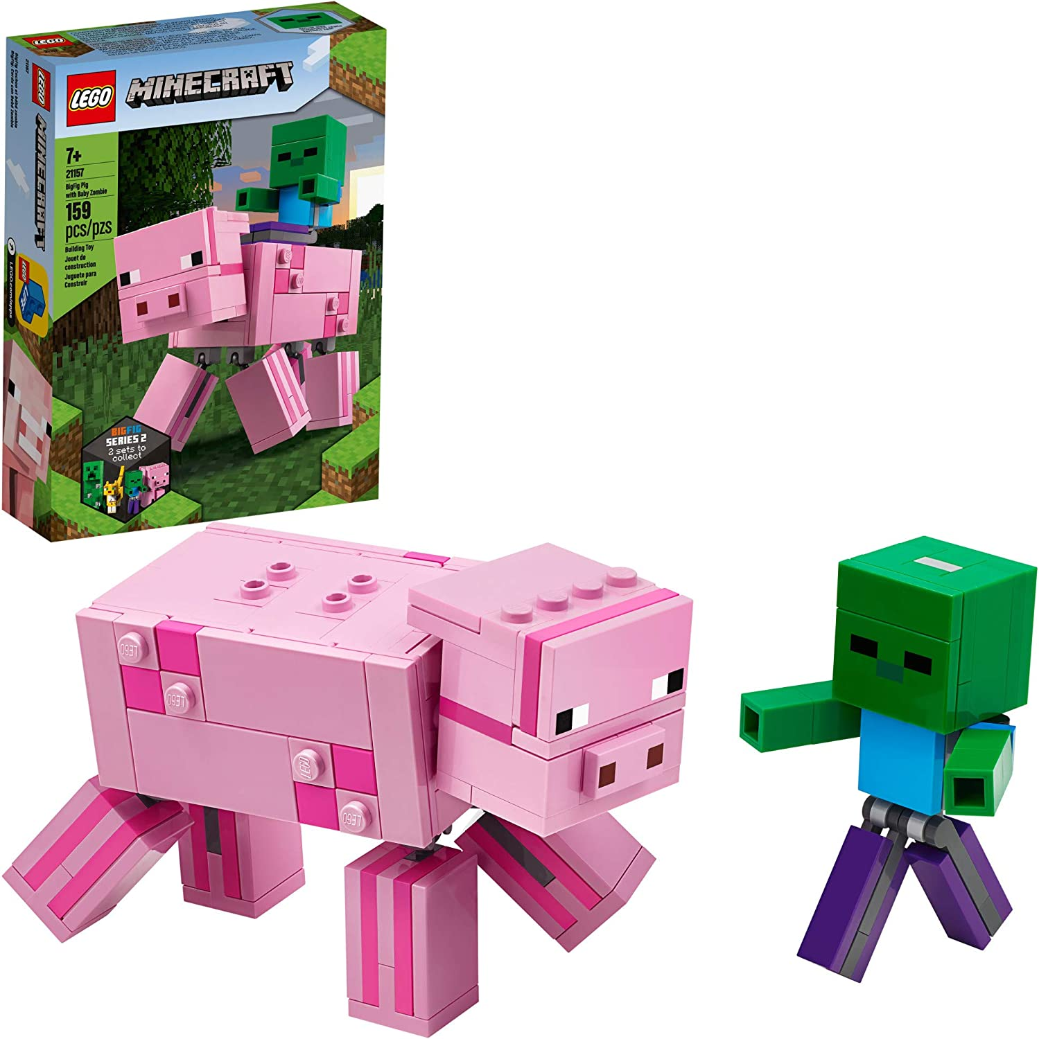 LEGO Minecraft Pig BigFig and Baby Zombie Character 21157 Cool Buildable Play-And-Display Toy Animal Figure for Kids, New 2020 (159 Pieces)