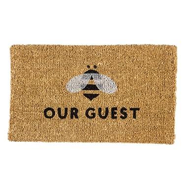Evergreen Flag Bee Our Guest Woven Back Coir Floor Mat