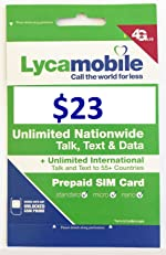 Lycamobile Preloaded Sim Card with $23 Plan Service Plan with Unlimited