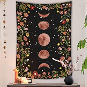 Rexful Moonlit Garden Tapestry, Moon Phase Surrounded by Plants and Flowers Black Wall Hanging Blanket 36×48 inch