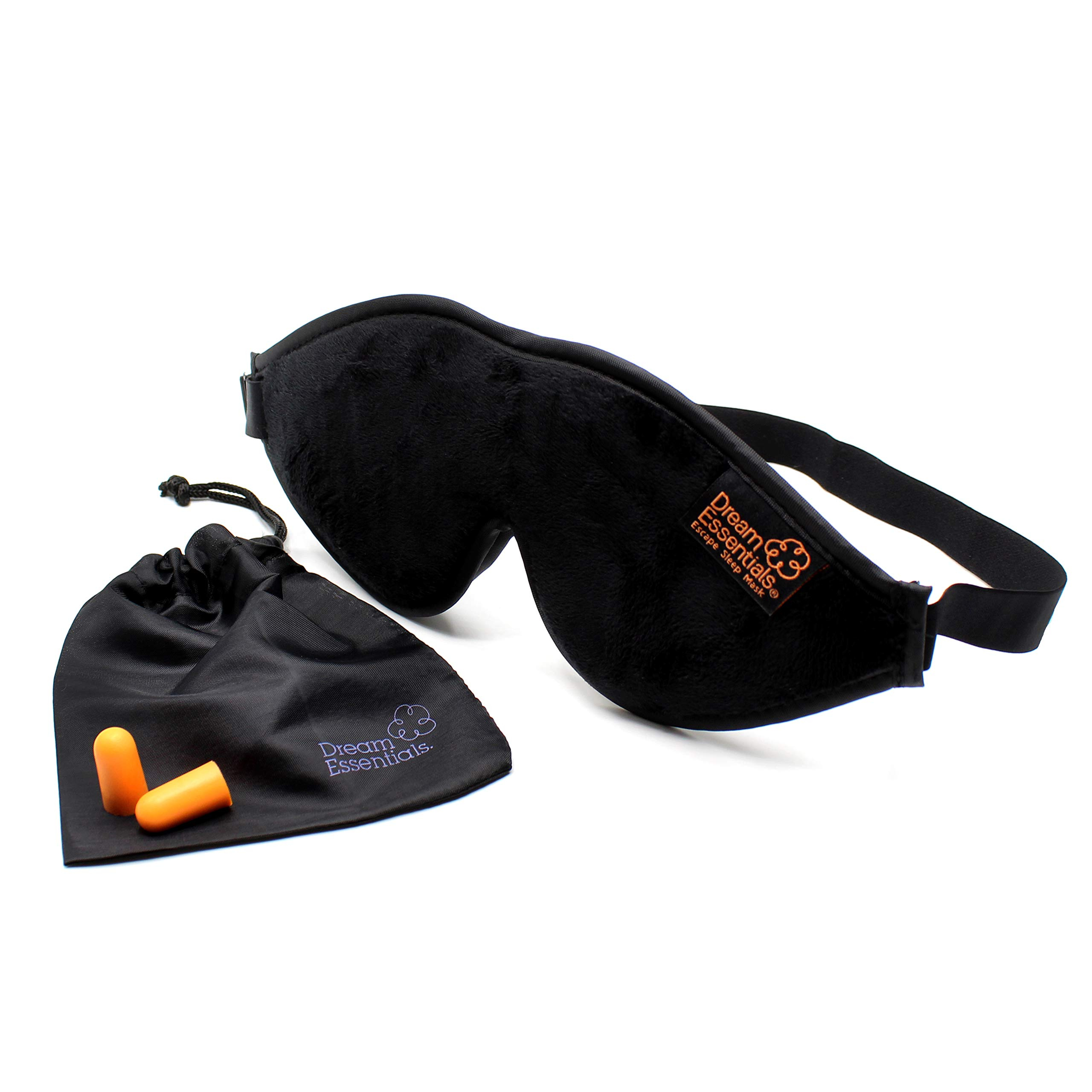 Dream Essentials Escape Luxury Sleep Mask Kit with Earplugs and Carry Pouch (Black), Gift Set by Dream Essentials