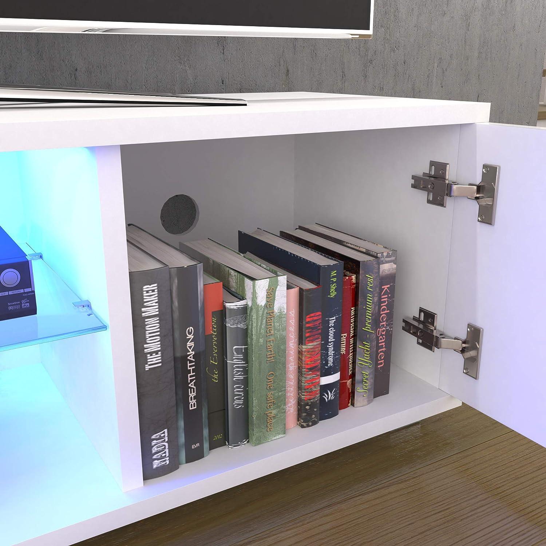 Vida Designs Cosmo LED TV Unit 2 Door Modern Gloss Matte MDF Living Room Cabinet Media Stand Furntiure RGB Light White 120cm