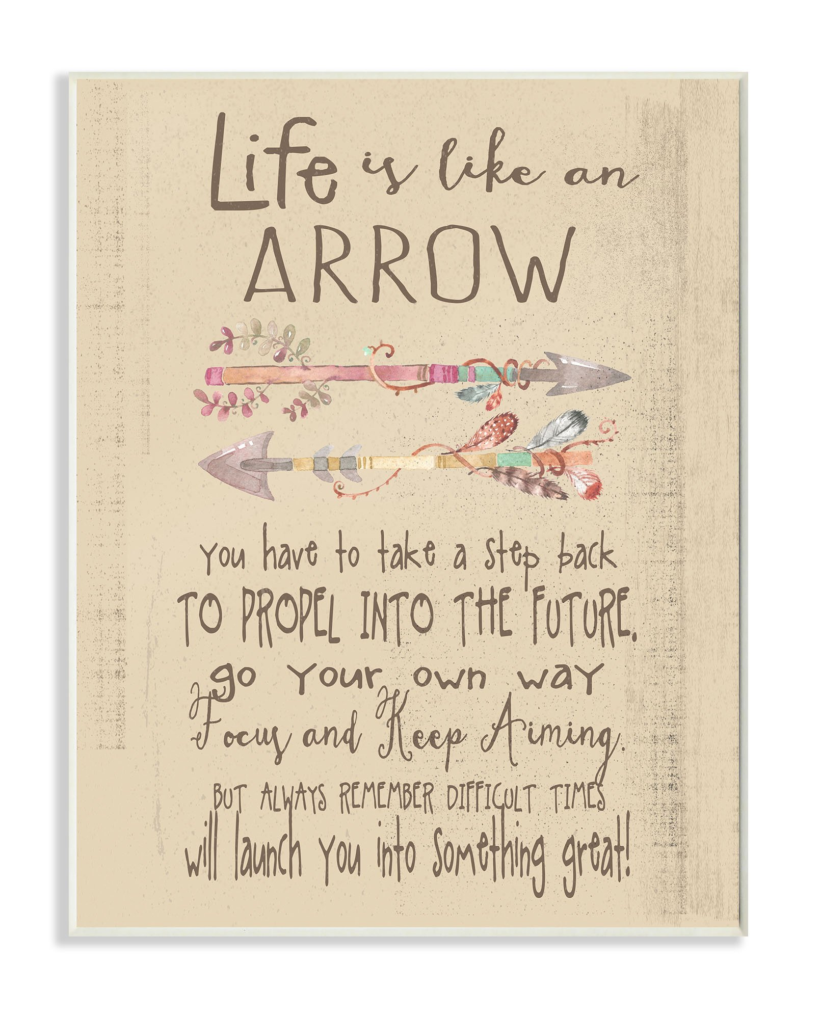 Stupell Home Décor Life is Like an Arrow' Icon Inspirational Typography Wall Plaque Art, 10 x 0.5 x 15, Proudly Made in USA