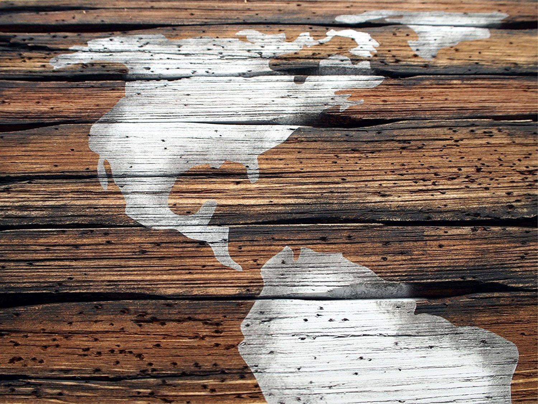 World Map Rustic Decor Handmade Worn out Wood Sign Carte du monde D/écor rustique Wall Art Map Wall Decor