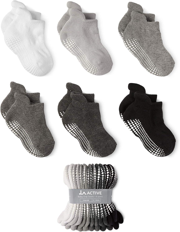 LA Active Grip Ankle Socks Baby Toddler Infant Newborn Kids Boys Girls Non Slip//Anti Skid 6 Pairs