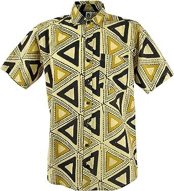 Guru-Shop, Camisa casual Hippie Goa, camisa de manga corta con impresión africana, algodón, camisas