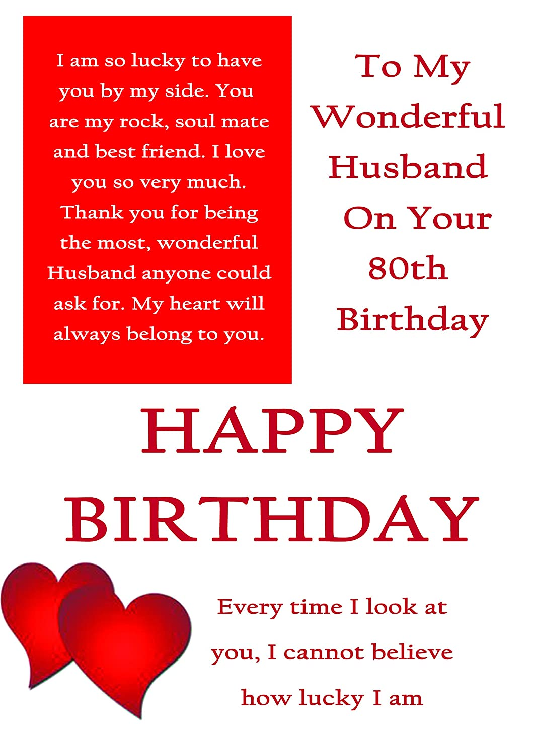For a Wonderful Husband on Your 80th birthday card