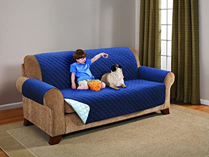 Elaine Karen Deluxe Reversible EXTRA WIDE Sofa Furniture Protector,  Blue/Light Blue