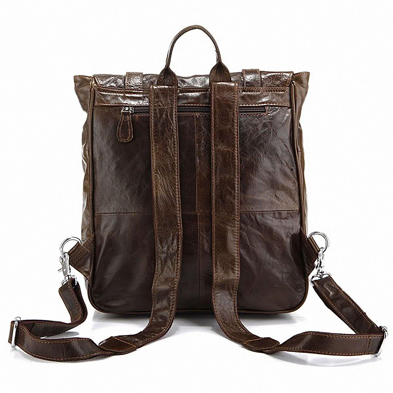 Tom Clovers Genuine Leather Unisex Leisure Handbag Backpack Coffee by Tom Clovers (Image #4)