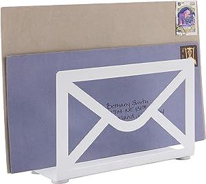 MyGift White Metal Envelope Cutout Design Desktop Letter Holder