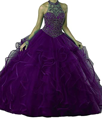 eaab678e85 Dengfeng Women s High Illusion Collar Beaded Party Sweet 15 Quinceanera  Dresses 0 US Purple