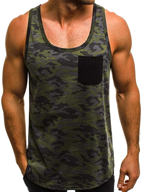 KLJR Men Camo Print Sleeveless One Pocket Sport Fitness Tank Top