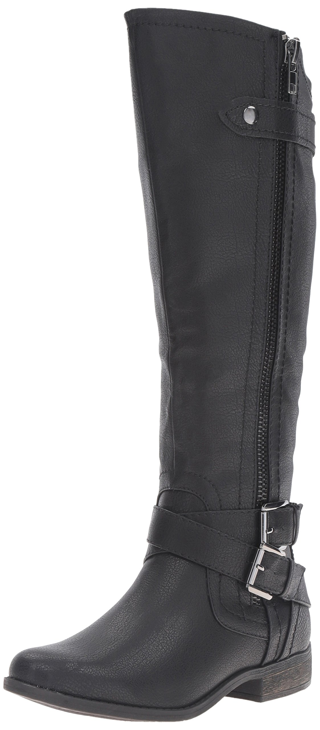Rampage Women's Hansel Zipper and Buckle Knee-High Riding Boot,Black Smooth,11 B(M) US Wide Calf