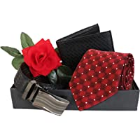TIED RIBBONS Fathers Day Combo Pack(Men's Tie,Leather Wallet, Leather Belt(Dual Side) with Red Rose) Packed in Gift Box