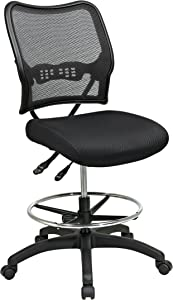 SPACE Seating Deluxe AirGrid Back with Mesh Seat, Adjustable Footring, Dual Function Control and Nylon Base Drafting Chair, Black