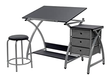 Peachy Sd Studio Designs Studio Designs 2 Piece Comet Art Hobby Drawing Drafting Craft Table With 36W X 23 75D Angle Adjustable Top And Stool In Bralicious Painted Fabric Chair Ideas Braliciousco