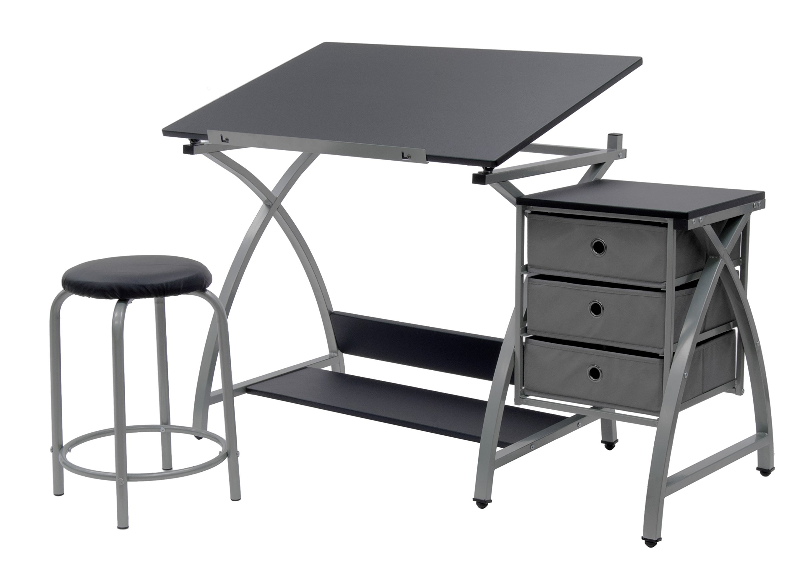 SD Studio Designs Studio Designs 2 Piece Comet Art, Hobby, Drawing, Drafting, Craft Table with 36''W x 23.75''D Angle Adjustable Top and Stool in Silver/Black, Assembled Dimensions: 50'' W x x 29.5'' H
