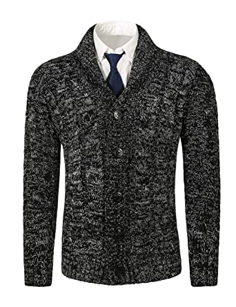 8753c3da3e MIEDEON Mens Casual Stand Collar Cable Knitted Button Down Cardigan Sweater  (XS