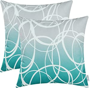 CaliTime Pack of 2 Soft Canvas Throw Pillow Covers Cases for Couch Sofa Home Decor Modern Gradient Ombre Circles Rings Both Sides 20 X 20 Inches Gray to Teal