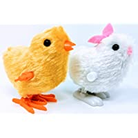 YLAB - 2x Easter Wind Up Toys, Hopping Bunny Rabbit and Chick