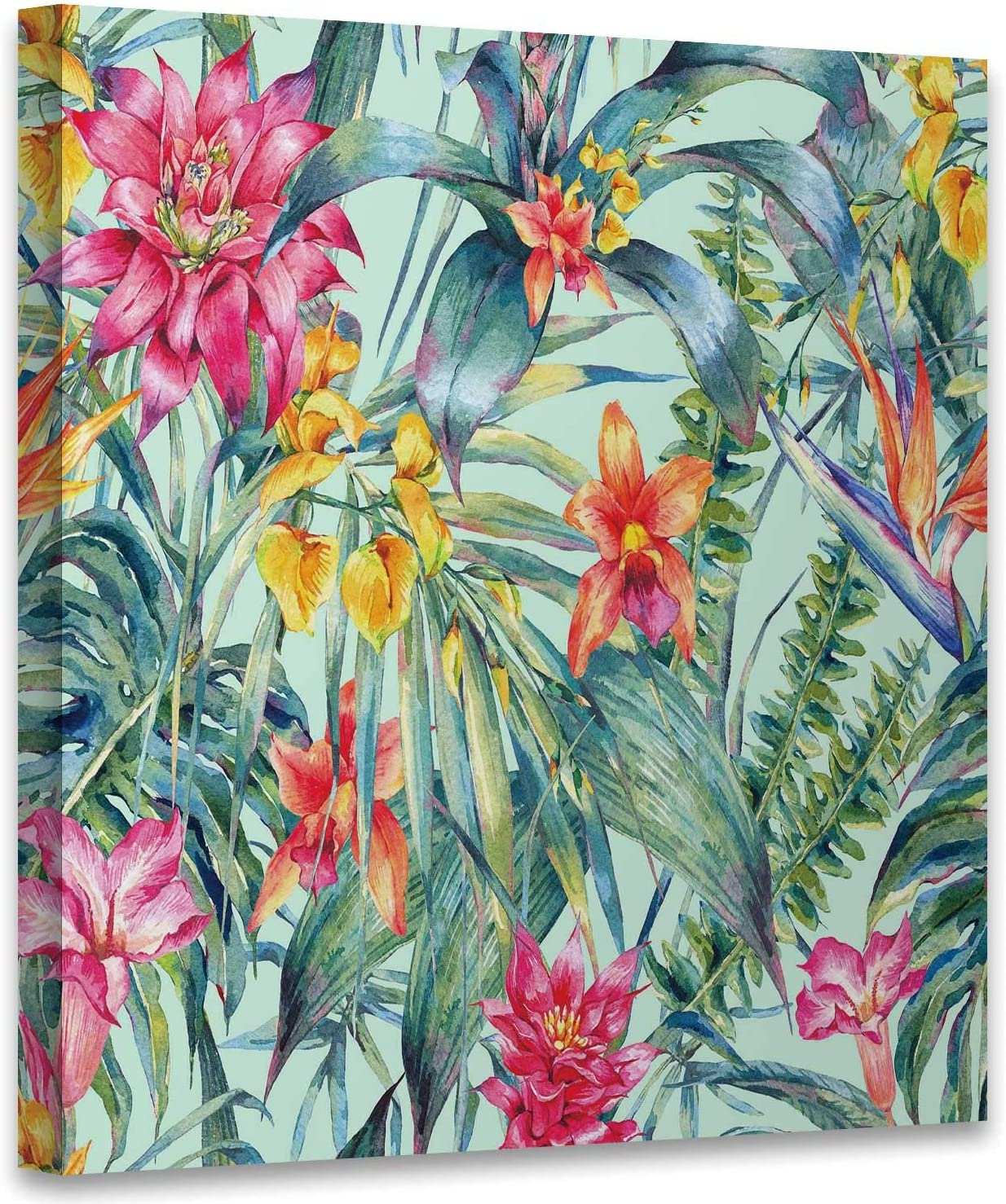 Floral Tropical Seamless Pattern.Exotic Flowers,Modern Home Decor to Hang Wall Decor Bird of Paradise for Living Room Decor Read to Hang 12x12