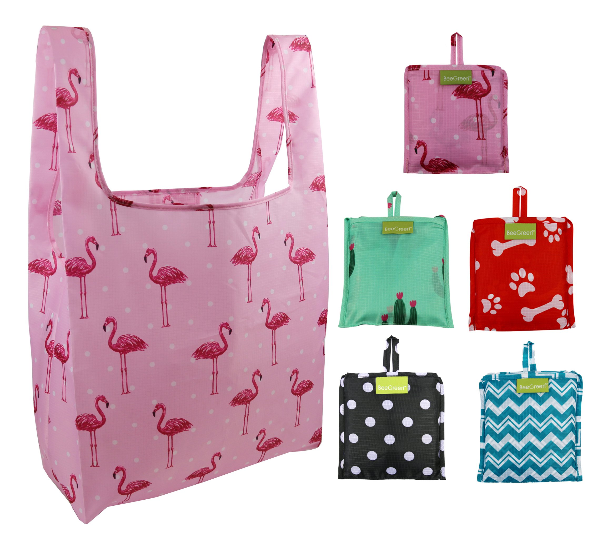 Foldable Reusable Grocery Bags 5 Cute Designs, Folding Shopping Tote Bag Fits in Pocket, Eco-Friendly Ripstop Nylon, Waterproof and Machine Washable