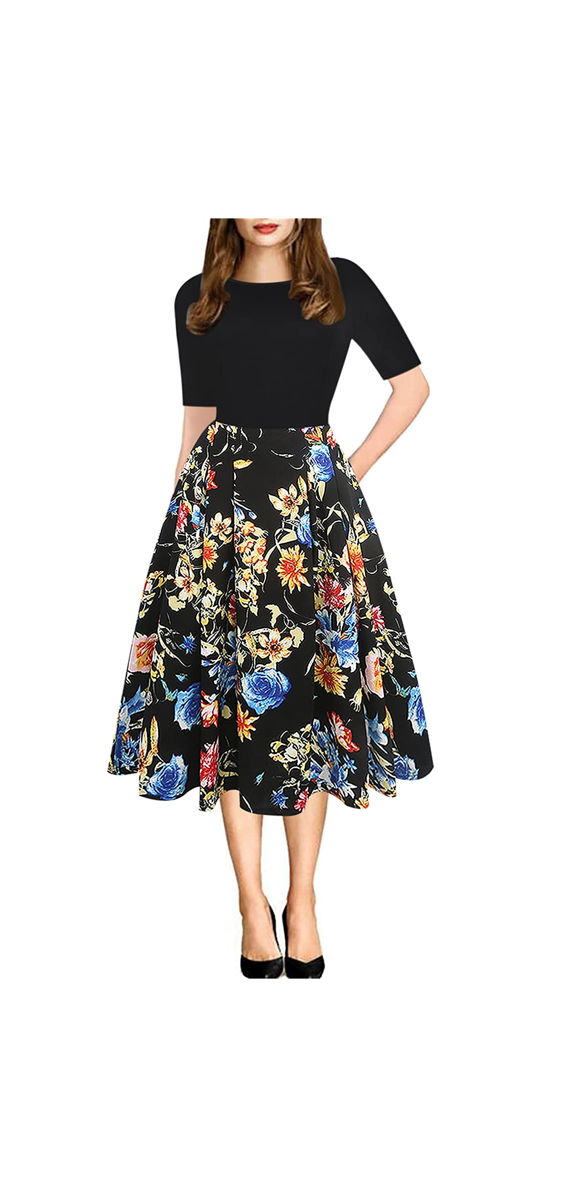 Women's Vintage Patchwork Pockets Puffy Swing Casual