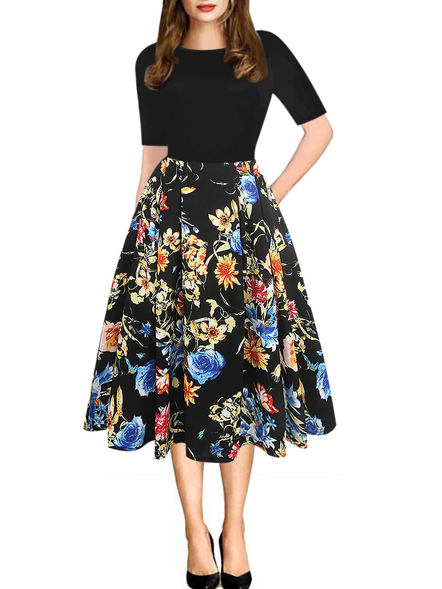 oxiuly Women's Vintage Patchwork Pockets Puffy Swing Casual Party Dress OX165 (M, Black Floral)